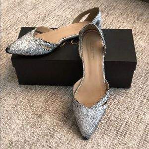 JCrew Crackle White Pointed Toe Flats